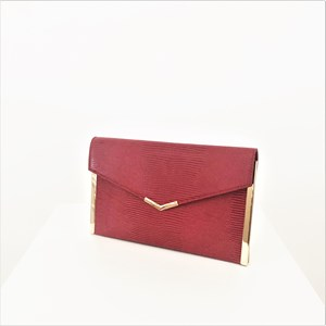 Metal Edge Fine Reptile Fold Over Clutch