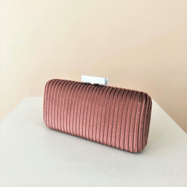 Velvet Cord Resin Clasp Structured Clutch