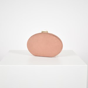 Reptile Suede Standing Oval Structured Clutch