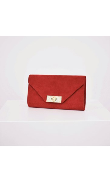 Micro Suede Beaten Clasp Fold Over Clutch