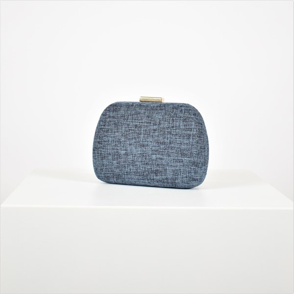 Natural Weave Rounded Structured Clutch