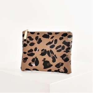 Abstract Leopard Print Zip Top Pouch