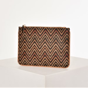 Seventies Chevron Print Zip Top Pouch