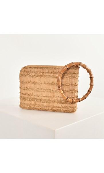 Bamboo Ring Raffia Stripe Weave Pouch