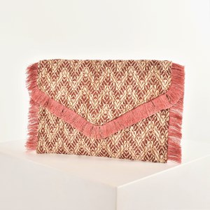 Woven Fringe Fold Over Clutch
