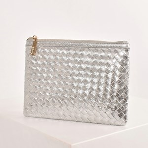 Plaited Weave Zip Top Clutch
