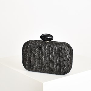 Striped Weave Resin Clasp Structured Clutch