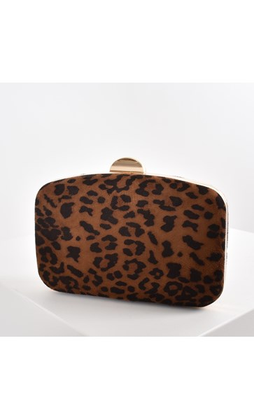 Animal Print Micro Suede Structured Clutch