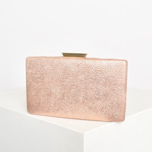 Regal Floral Embossed Structured Clutch
