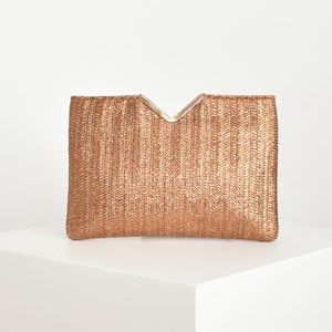 Metallic Weave V Detail Clutch
