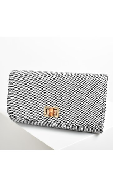 Woven Fold Over Bamboo Clasp Clutch