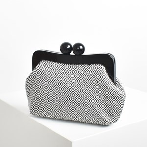 Woven Diamonds Resin Frame Clutch