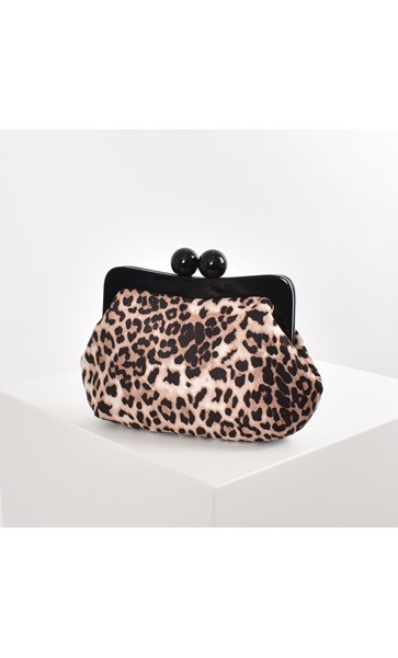 Leopard Micro Suede Resin Frame Clutch