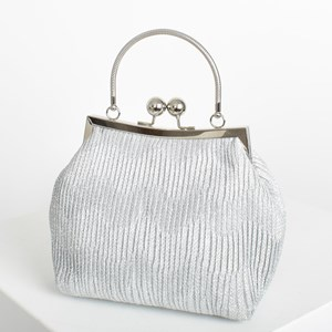 Pleated Metallic Metal Frame Purse Clutch