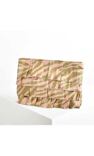 Zebra Print Weave Ruffle Clutch