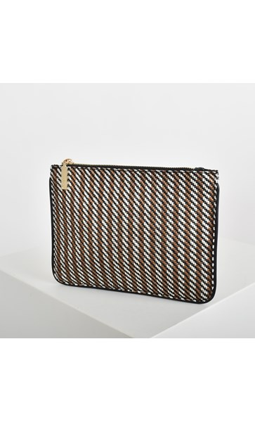 Woven Stripes Trimmed Pouch