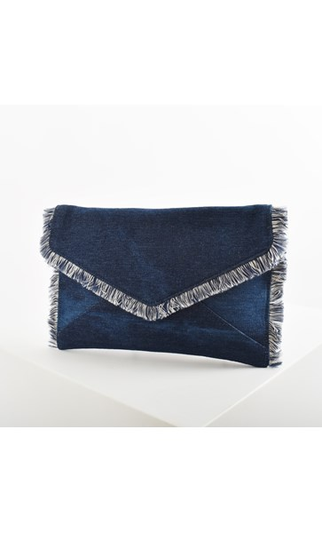 Denim Fringe Edge Envelope Clutch