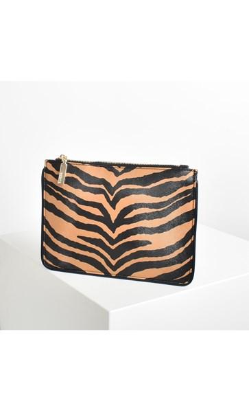 Zebra Print Trimmed Pouch