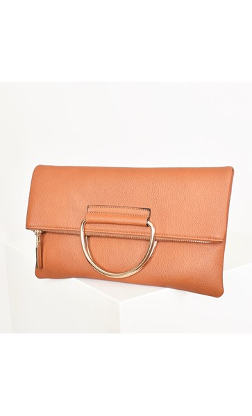 Metal Handle Fold Over Vegan Leather Clutch