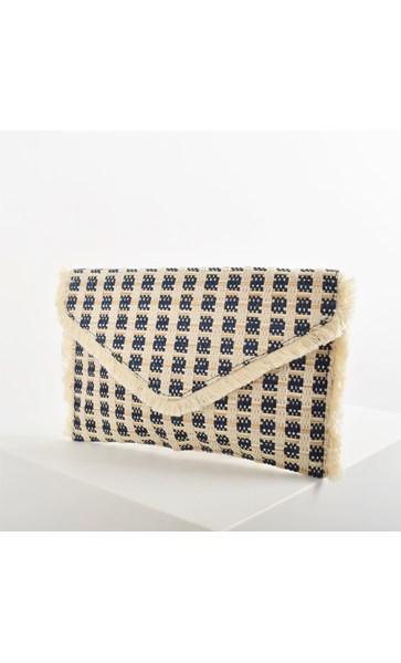 Diamond Weave Fringe Edge Envelope Clutch