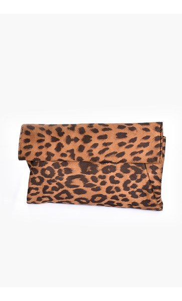 Leopard Print Fold Over Angled Clutch