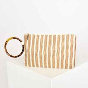Woven Stripe Resin Ring Zip Top Clutch