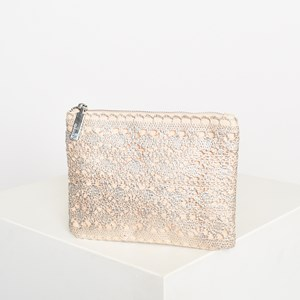 Metallic Crochet Canvas Pouch