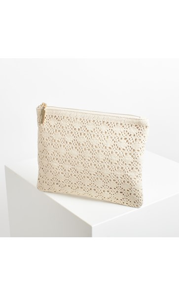 Bangalow Crochet Canvas Zip Top Clutch