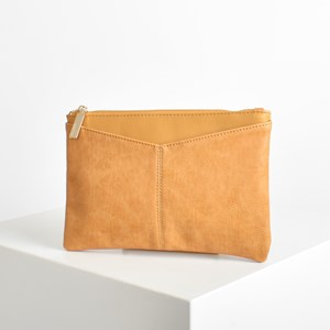 V Panel Tonal Zip Top Pouch