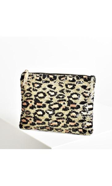 Leopard Confetti Print Sequin Pouch
