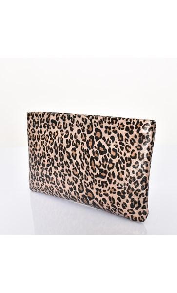 Metallic Leopard Recessed Zip Clutch