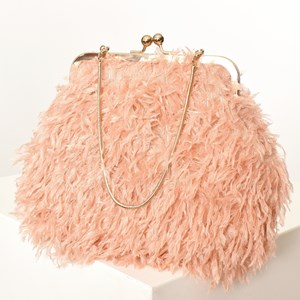 Faux Feather Metal Framed Purse