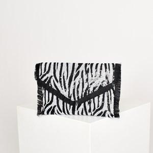 Sequin Zebra Fringe Edge V Fold Over Clutch