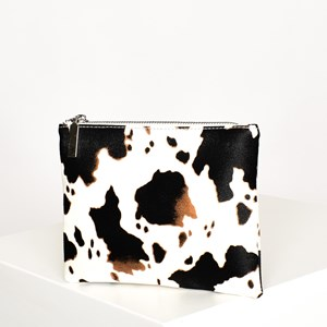 Western Cow Print Zip Top Pouch