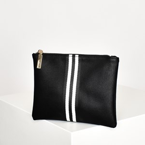 Striped Webbing Centre Zip Top Pouch