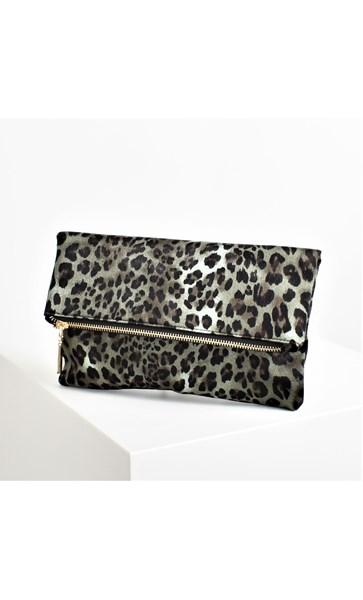 Fold over Zip Feature Leopard Clutch