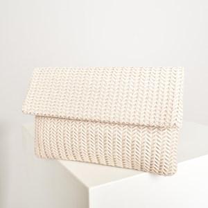 Vegan Leather Weave Fold over Clutch