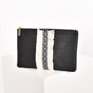 Tribal Fringe Zip Top Clutch