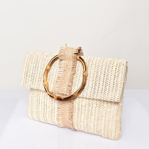 Bamboo Ring Fringe Fold over Clutch