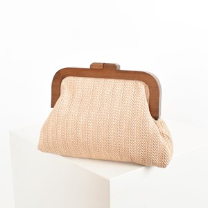 Self Stripe Faux Weave Timber Frame Clutch