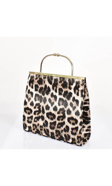 Metal Arch Handle Structured Purse Bag