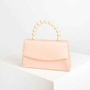 Pearl Handle Nude Foldover Lady Bag