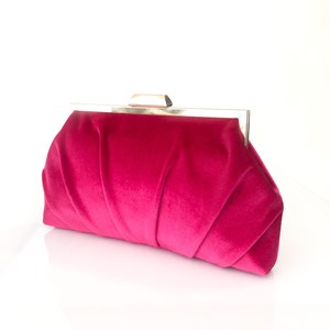 Pleated Velvet Frame Clutch