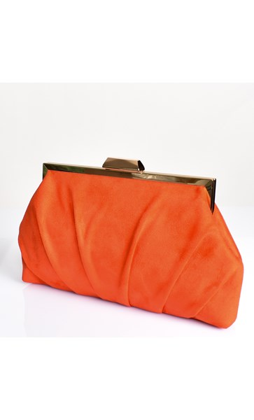 Pleated Micro Suede Framed Clutch