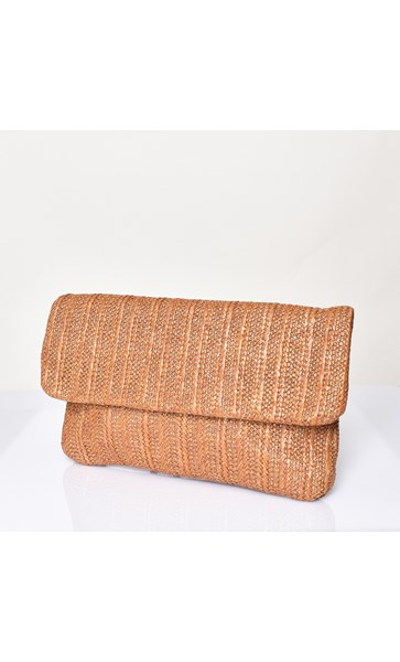 Fold Over Woven Wrist Strap Clutch