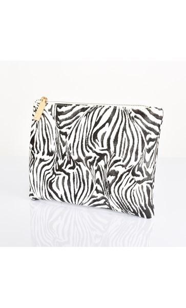 Zebra Print Zip Top Pouch