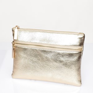 Aged Metallic Double Zipper Pouch
