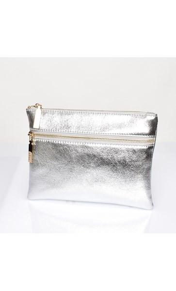 Aged Metallic Double Zipper Pouch
