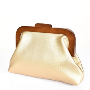 Gold Faux Leather Frame Clutch