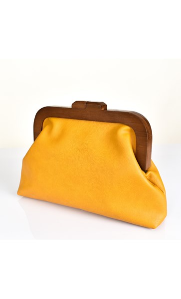 Mustard Faux Leather Frame Clutch